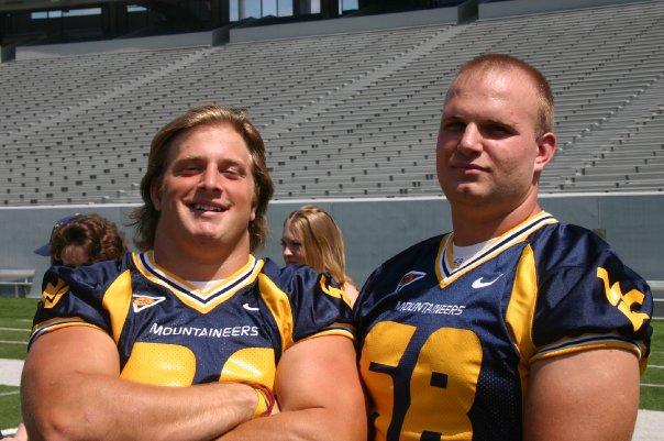 Jeff Berk with OL teammate Dan Mozes