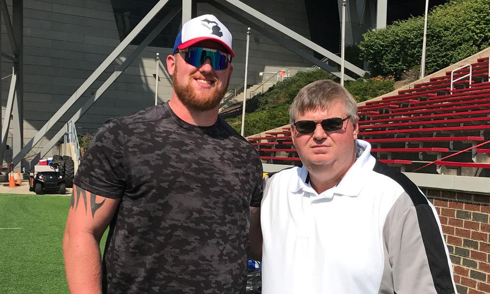 Dave Berk with Jacksonville Jaguars Offensive Lineman Parker Ehinger - Dave covered Parker in College